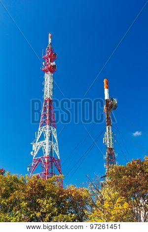 Antenna tower on blue sky