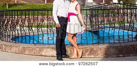 Elegant couple's legs
