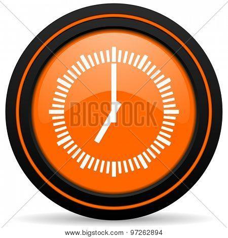 time orange icon clock sign