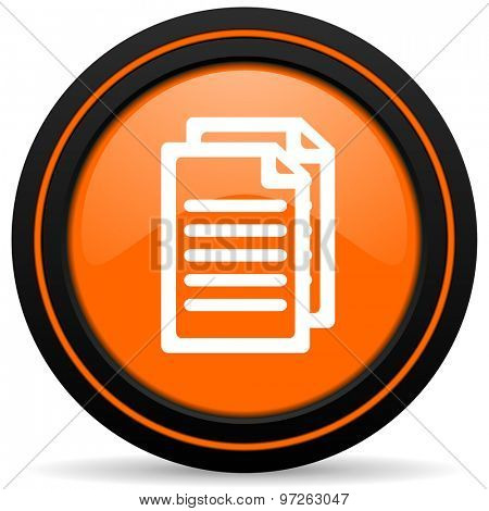 document orange icon pages sign