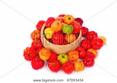 Barbados Cherry In Wooden bowl