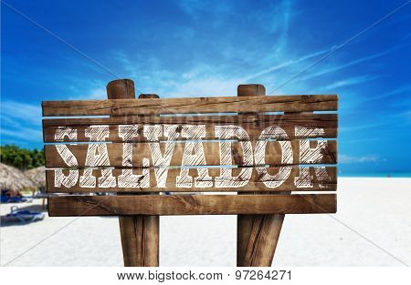 Salvador wooden sign on the beach