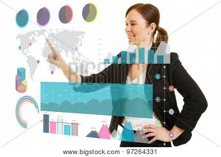 Business woman using infographic on a big virtual touchscreen