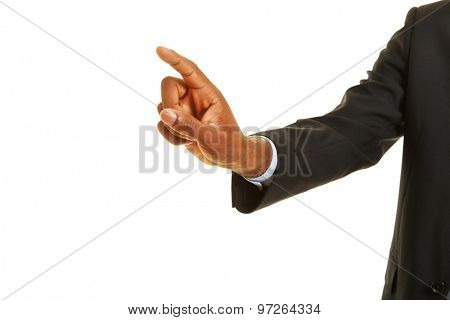 African hand using virtual touchscreen with his index finger