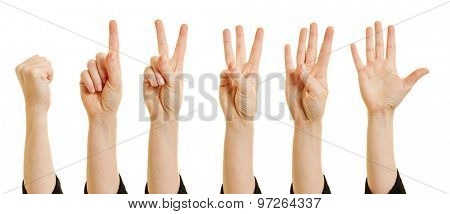 Woman showing numbers from zero to five with her fingers