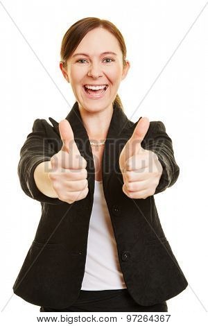 Successful business woman holding both of her thumbs up