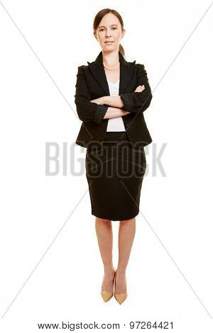 Confident business woman in a suit with her arms crossed