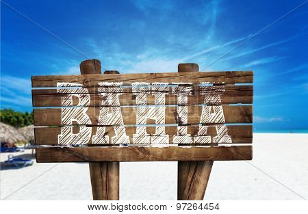 Bahia wooden sign on the beach