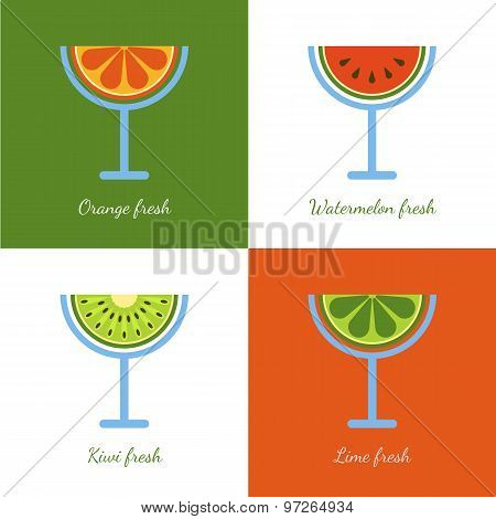 Set Of Vector Sliced Fruits In Glass. Abstract Flat Logo Design