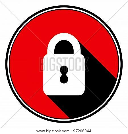 Red Information Icon - White Closed Padlock