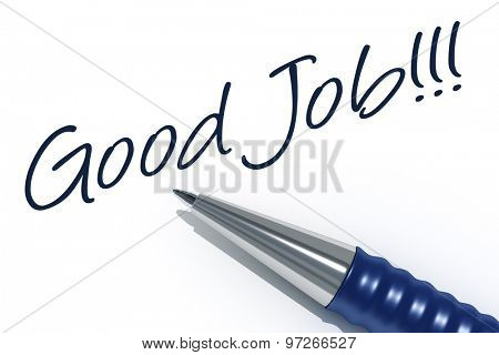 An image of a pen with the message good job