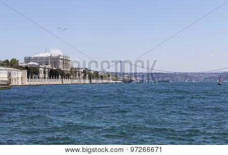 Dolmabahce Palace, the Bosphorus Bridge and Atatürk. Istanbul. Turkey.
