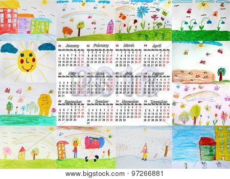 Beautiful Calendar For 2016 With Children's Drawings