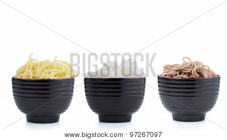 Set Of Asian Noodles Isolated On White Background