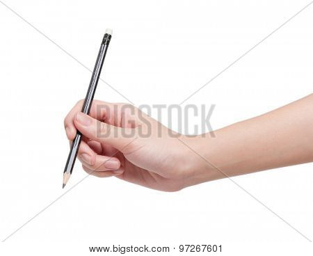 Woman hand with pencil isolated on white background