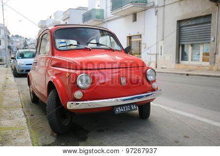 Iconic Fiat 500 In Alberobello, Puglia, Italy