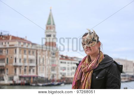 Woman With Carneval Mask In Venice