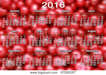 Calendar For 2016 On The Background Of Berries Of Cherry