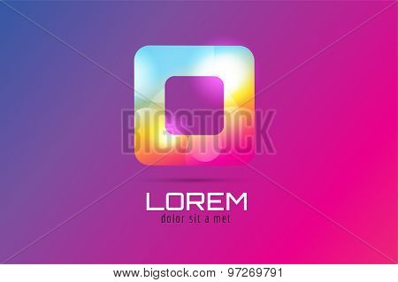 Vector square abstract logo template. Corner geometric and symmetric symbol, trendy icon, creative i