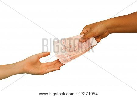 Hand Giving Money To Other Hand ,concept Business