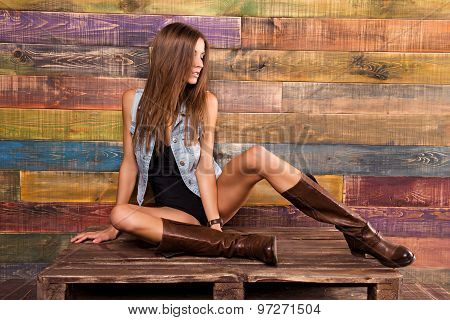 Model Posing In Country Style. The Girl's Slim Figure
