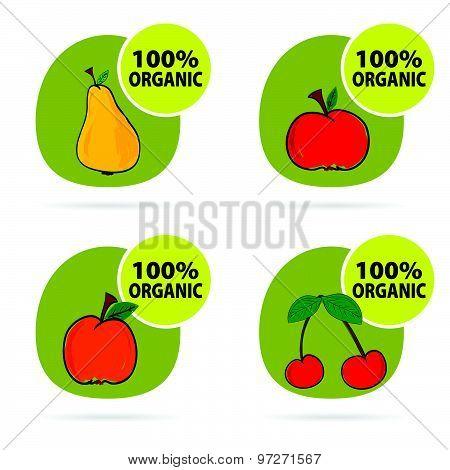 Sticker Of Fruit Organic Vector