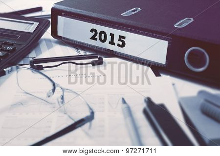 2015 on Ring Binder. Blured, Toned Image.