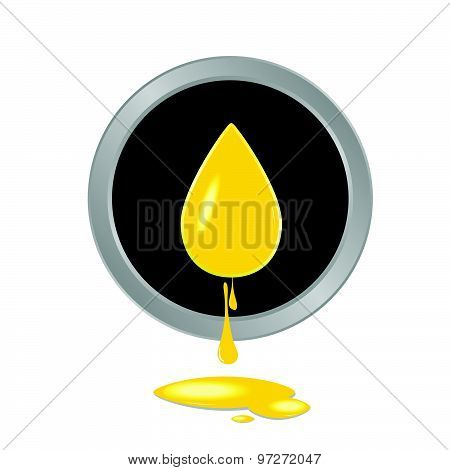 Oil Yellow Button Vector