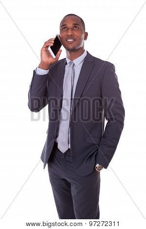 Portrait Of A Young African American Business Man Making A Mobile  Phone Call - Black People