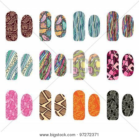 Set of nail designs for beauty salon. Vector nails art stickers.