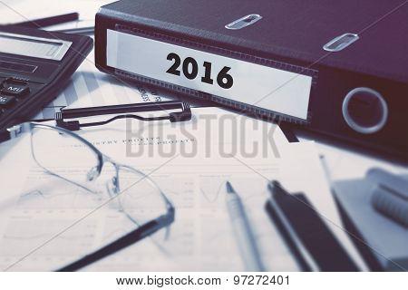 2016 on Ring Binder. Blured, Toned Image.