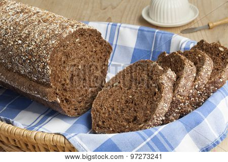 Fresh round multigrain bread in a basket