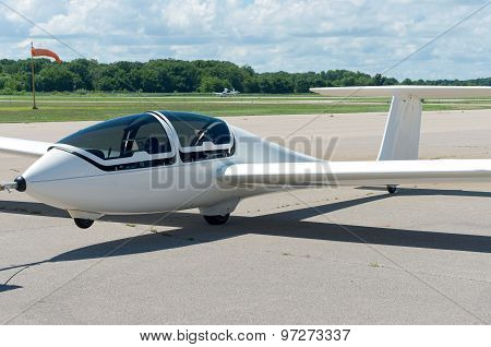 Glider Plane On Runway