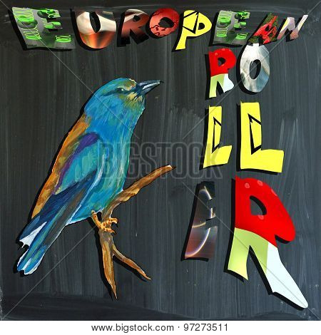Joyous Child-s World, Mixed Media, Bird, European Roller