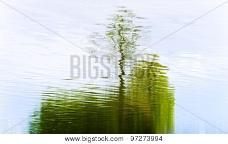 Abstract Reflection In Lake Of Tree
