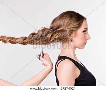 Girl Cut Long Hair. Girl Standing In Profile