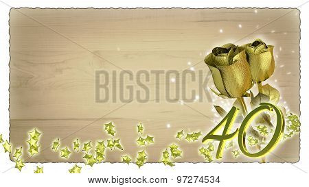birthday concept with golden roses and star particles - 40th