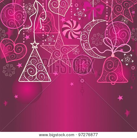 Christmas wallpaper with hanging decoration