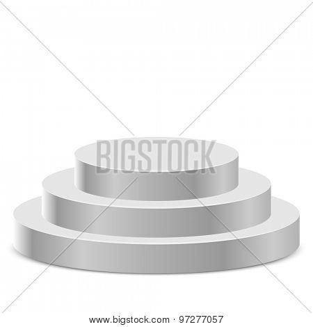 Three step white round podium isolated on white background.
