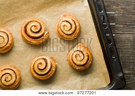 top view of cinnamon buns
