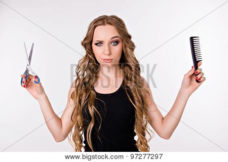 Girl Chooses Scissors Or Comb, Beauty Or Convenience, Long Hair Or Short