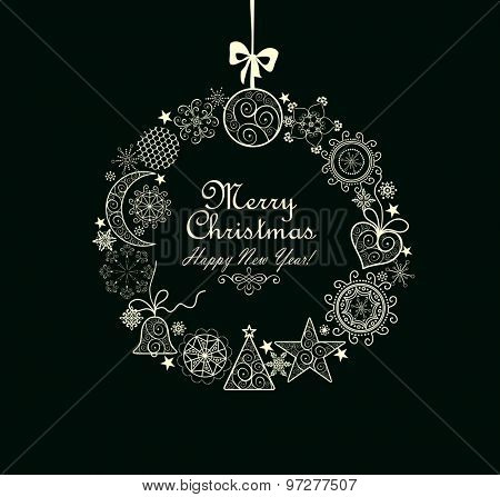 Greeting card with Xmas wreath