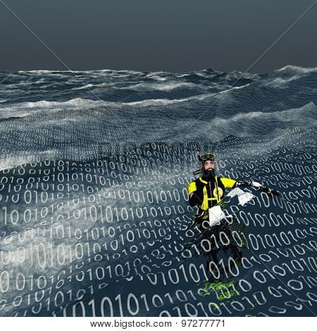 Diver floats at surface of binary sea Computer and internet concept