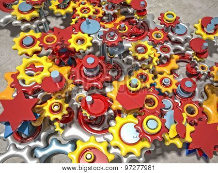 3d image of different  gears