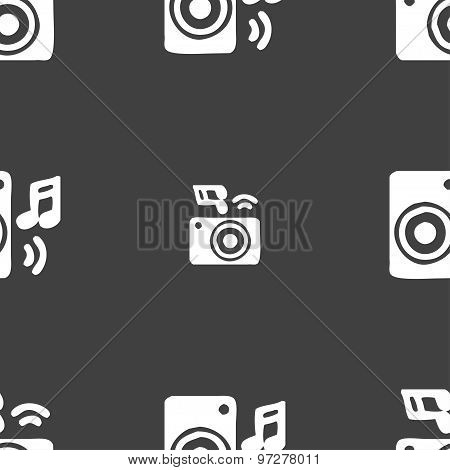 Music Column, Disco, Music, Melody, Speaker Icon Sign. Seamless Pattern On A Gray Background. Vector