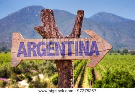 Argentina wooden sign with winery background