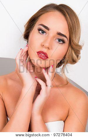 Portrait Of Beautiful Girl With Beautiful Makeup