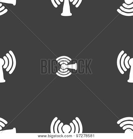 Wi-fi, Internet Icon Sign. Seamless Pattern On A Gray Background. Vector
