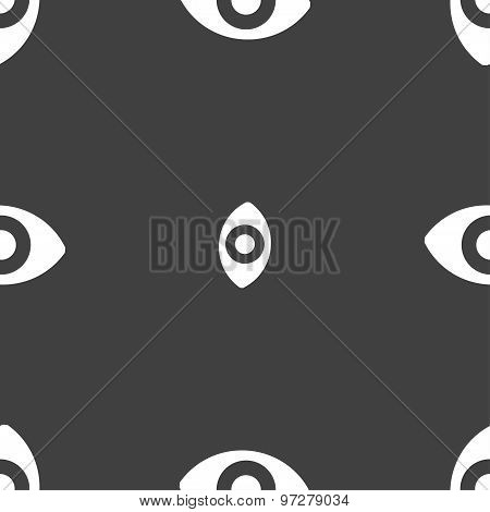 Sixth Sense, The Eye Icon Sign. Seamless Pattern On A Gray Background. Vector
