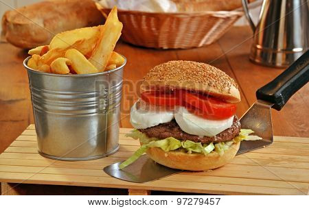 mozzarella cheese burger an fried potatoes on rustic ambient.